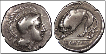 Featured Ancient Coin: Lucania Velia   c. 300-280 B.C. Didrachm or Stater