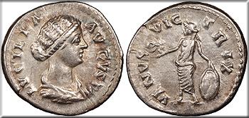Featured Ancient Coin: Lucilla, wife of Lucius Verus 164-169 A.D. Denarius