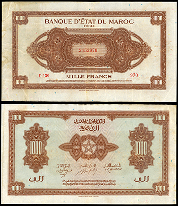 Featured Currency: MOROCCO Banque d'Etat du Maroc   1 August 1943 1000 Francs