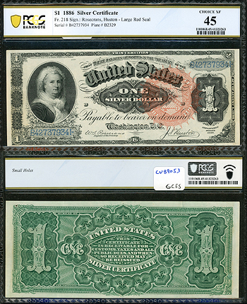Featured Currency: UNITED STATES OF AMERICA    1886 One Dollar