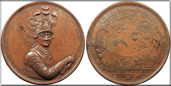 Featured Exonumia: RUSSIA By J.B. Glass   1770 Russo-Ottoman naval battle of Chesme 91mm Medal