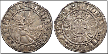 Featured Medieval Coin: LOWLANDS Robert III, von Bethune Flanders  ND 1305-1322 Demi Gros au chevalier (1/2 Gros); Baudequin