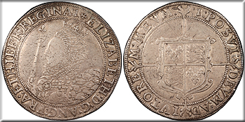 Featured Medieval Coin: ENGLAND Elizabeth I   1558-1603 Crown