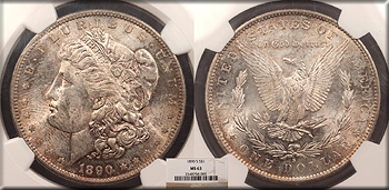Featured U.S. Coin: 1890 S Morgan 1 Dollar (Silver)  NGC MS-63