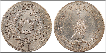 Featured World Coin:  PARAGUAY Uncertain private issuer. 18xx 20 Centimos