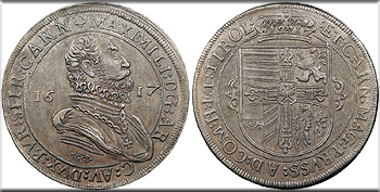 Featured World Coin: AUSTRIA Maximilian   1617-CO Thaler (Taler)