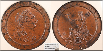 Featured World Coin: GREAT BRITAIN George III   1797 2 Pence