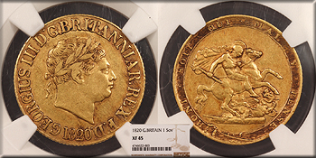 Featured World Coin: GREAT BRITAIN George III   1820 Sovereign